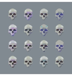 set of stylized skull on a gray background vector image