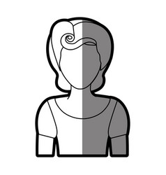 silhouette shading of faceless half body woman vector image
