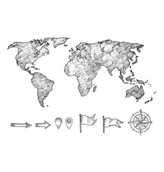 Sketched style world map and navigation elements vector