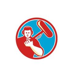 Soundman Miicrophone Pole Circle Retro vector image