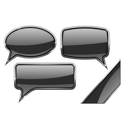 speech bubbles set of black communication 3d vector image