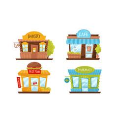 Store building facade set vector