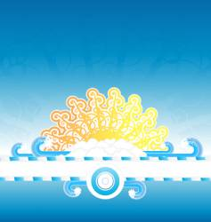 sunny water splash banner stripe vector image