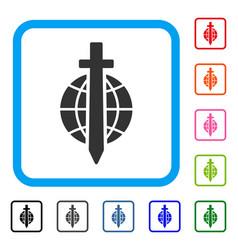 sword globe framed icon vector image