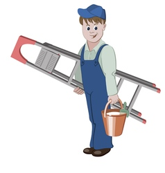 The decorator or handyman standing with ladder vector image