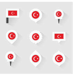 Turkey flag and pins for infographic and map vector