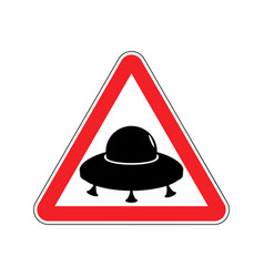 Ufo warning sign yellow aliens hazard attention vector