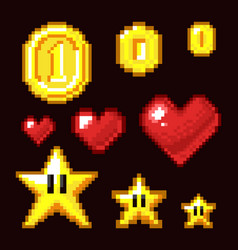 Video game 8 bit assets isolated coin star and vector