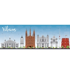 Vilnius Skyline with Gray Landmarks and Blue Sky vector image