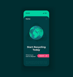 Waste disposal smartphone interface template vector