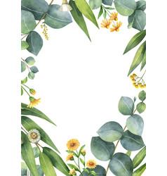 Watercolor card with green eucalyptus vector