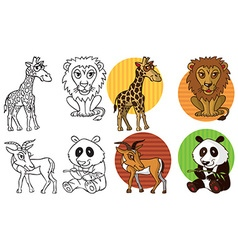Wild animals giraffe lion gazelle panda vector