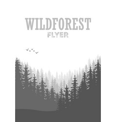wild coniferous forest flyer background pine tree vector image