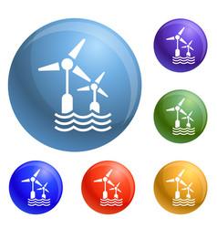 wind wave turbine icons set vector image