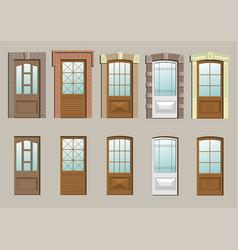 Wooden doors in the wall vector