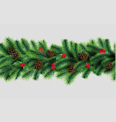 x-mas border christmas tree garland with cones vector image