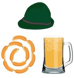 Beer sausage and hat vector image