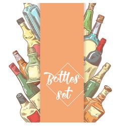 hand drawn bottles menu design wine cognac vector image vector image