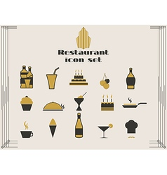 Restaurant icons in art deco style vector image