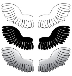 set Wings Black outline and painted vector image vector image