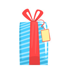 blue gift box with red ribbon cartoon vector image