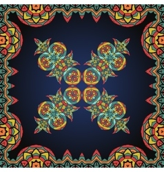 Bright coloured ornate frame with paisley pattern vector image