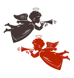 Christmas angel plays the trumpet silhouette vector