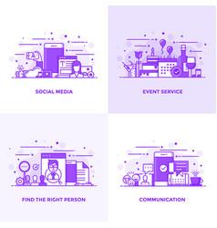 flat line purple designed concepts 15 vector image vector image