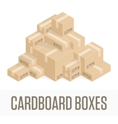 Pile cardboard boxes vector image vector image