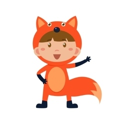 Child Wearing Costume of Fox vector image vector image