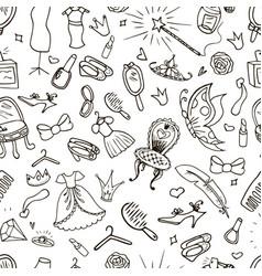 hand drawn princess seamless pattern vector image vector image