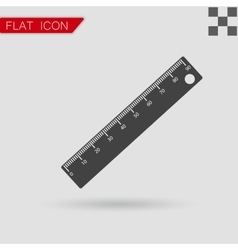 Ruler icon Flat Style with red vector image vector image