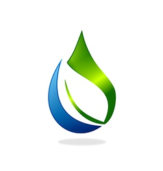 pure water drop ecology leaf nature logo vector image