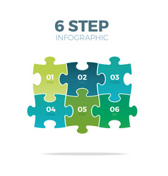 six step puzzle infographic vector image