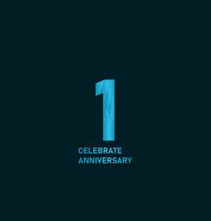 1 year anniversary aqua color template design vector