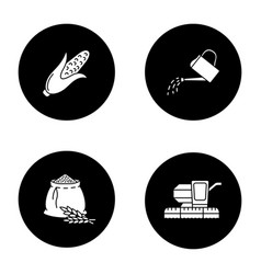 agriculture glyph icons set vector image