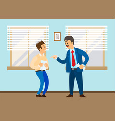 Angry boss shouting to on employee conflict vector