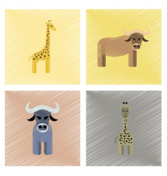 Assembly flat shading style icons giraffe bull vector