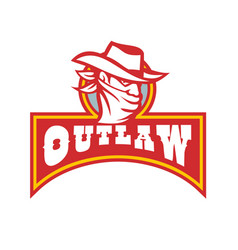 bandit with outlaw text retro vector image