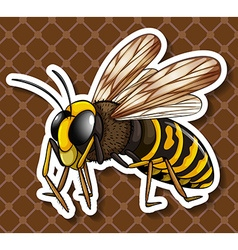 Bee flying on brown background vector