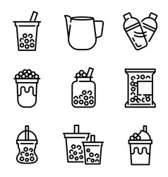 Bubble tea or pearl milk tea line icon set vector