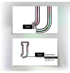 Business card design with letter J vector image