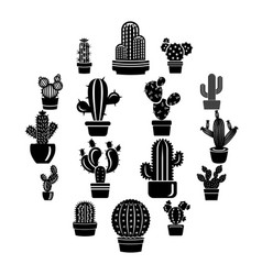 cactus icons set simple style vector image