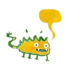Cartoon little fire demon with speech bubble vector