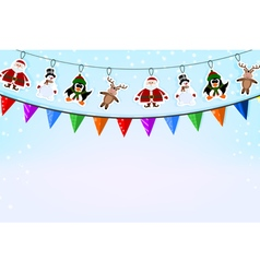Christmas blue background with a garland of paper vector image
