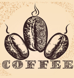 Coffee poster with hand drawn arabic coffee vector