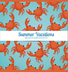 crab animals pattern background vector image