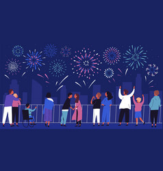 Crowd people admiring celebratory fireworks at vector
