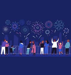 Crowd people admiring celebratory fireworks vector