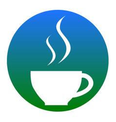 cup of coffee sign white icon in bluish vector image